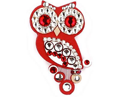 Sovičky Malá soví brož červená