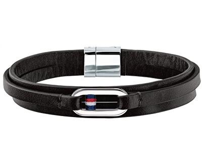 Černý kožený náramek TH2790028