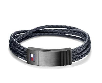 Stylový černý kožený náramek TH2701007