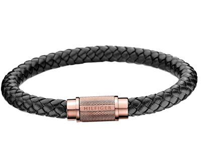 Trendy černý kožený náramek TH2700999
