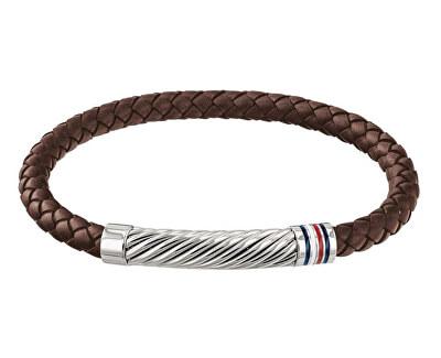 Trendy hnědý kožený náramek TH2790078