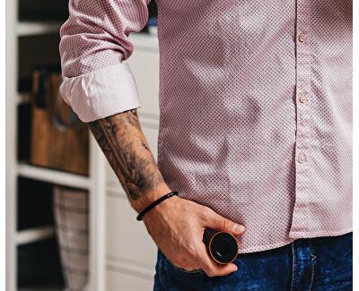 Černý propletený náramek s ocelovou sponou Leather