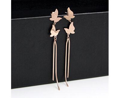 Dlouhé bronzové motýlí náušnice z oceli