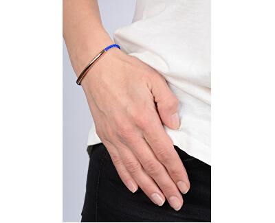 Královsky modrý šňůrkový náramek s růžově pozlacenou ocelovou ozdobou