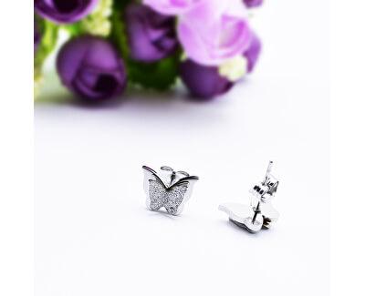 Ocelové motýlí náušnice Metal Butterfly KES-048-SIL