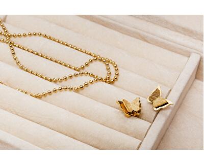 Pozlacené motýlí náušnice Metal Butterfly KES-048-GOLD