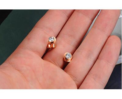 Pozlacené ocelové náušnice pecičky s krystalem