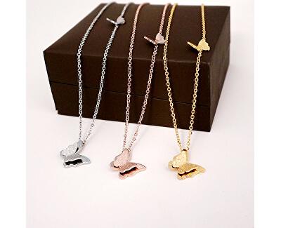 Ocelový motýlí náhrdelník Metal Butterfly KNSC-257-SIL