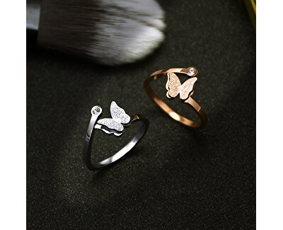 Inel romantic cu fluture din oțel