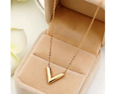"Roz pandantiv colier placat cu aur în formă de ""V"""