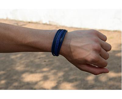 Tmavě modrý náramek z kožených pásků Leather