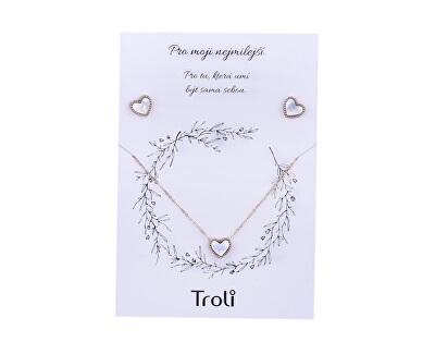 Bronzová súprava šperkov s perleťovým stredom