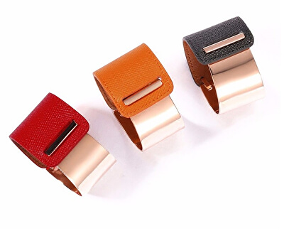 Fashion náramek z oceli a kůže stříbrný/červený