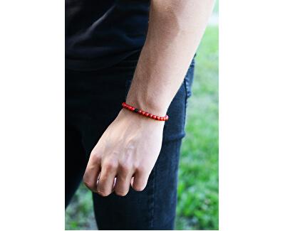 Korálkový náramek z červeného howlitu a onyxu