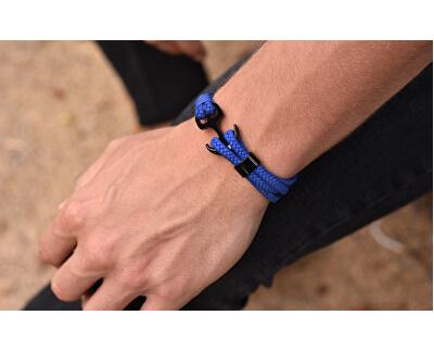Kráľovsky modrý kožený náramok Kotva