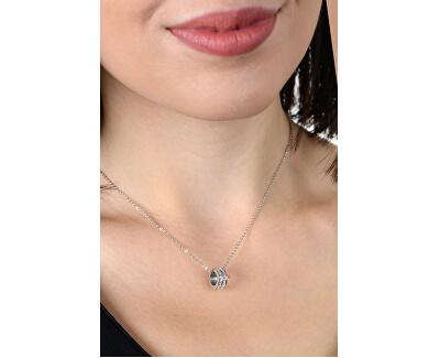 Ocelový náhrdelník s kruhovým třpytivým přívěskem