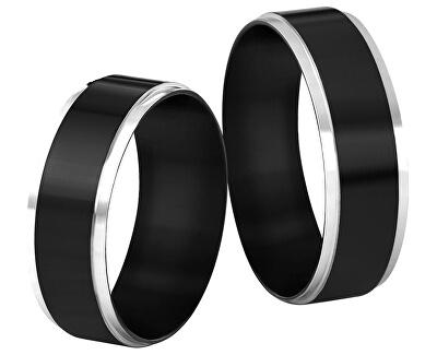 Ocelový snubní prsten černý/stříbrný