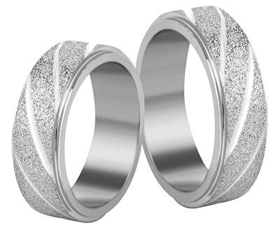 Ocelový snubní prsten stříbrný/třpytivý