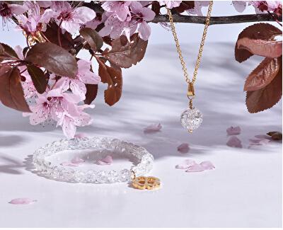 Pozlacený náhrdelník s bílým achátem