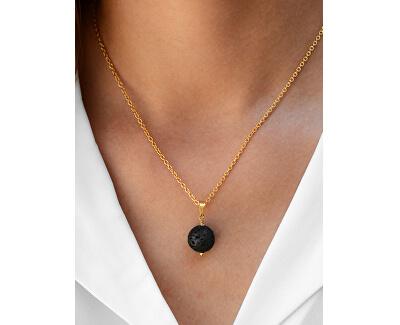Pozlátený náhrdelník s lávovým kameňom