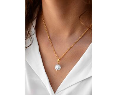 Pozlátený náhrdelník s popraskaným krištáľom