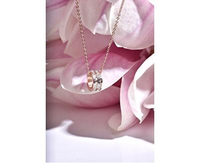 Pozlacený ocelový náhrdelník s kruhovým třpytivým přívěskem