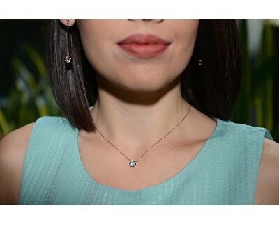 Růžově pozlacený ocelový náhrdelník s hexagonem
