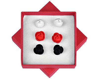 Fülbevaló fehér-vörös-fekete virágok halmaza