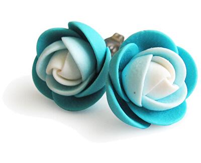 Fehér-türkiz szegecses virág fülbevaló