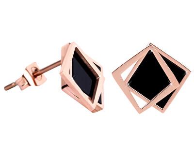 Bronzové náušnice ve tvaru dvojitého čtverce - černé