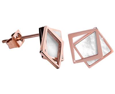 Bronzové náušnice ve tvaru dvojitého čtverce - perleťové