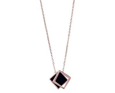 Troli Bronzový náhrdelník s černým dvojitým přívěskem