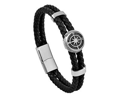 Čierny kožený náramok s kompasovú ružicou