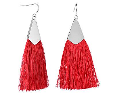 Červené náušnice střapce s ocelovým háčkem