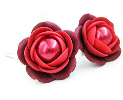 Vörös bordó medál fülbevaló gyöngy virággal