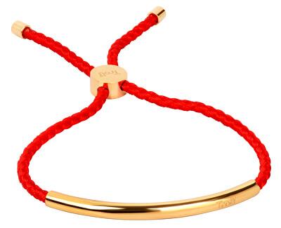 Červený šňůrkový náramek s pozlacenou ocelovou ozdobou