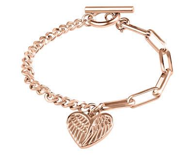 Designový růžově zlacený náramek s přívěskem Srdce