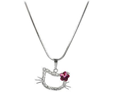 Troli Dívčí náhrdelník Kočička s kytičkou Fuchsia