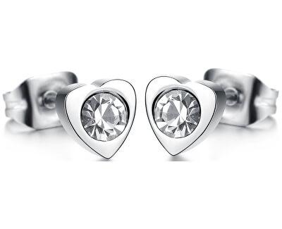 Troli Cercei mici, model inimă cu cristal
