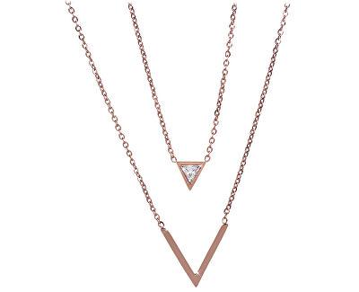 Dvojitý bronzový náhrdelník s trojúhelníky
