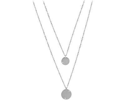 Dvojitý náhrdelník s kruhovými přívěsky z oceli