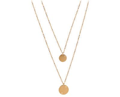 Dvojitý náhrdelník s kruhovými přívěsky z pozlacené oceli