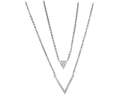Dvojitý ocelový náhrdelník s trojúhelníky