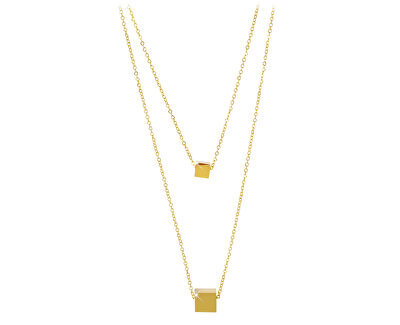 Dvojitý pozlacený náhrdelník s kostičkami