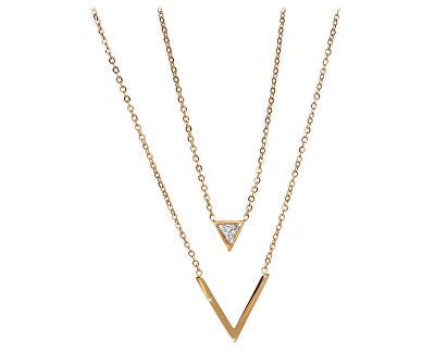 Dvojitý pozlacený náhrdelník s trojúhelníky