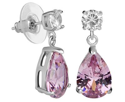 Jiskřivé náušnice s růžovými krystaly