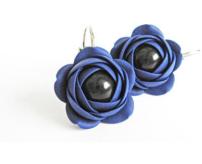 Kék lógó fülbevaló fekete gyöngy Estrela virággal
