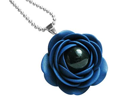 Kék nyaklánc fekete gyöngyvirágokkal