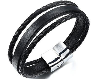 Náramek ze tří kožených pásků Leather