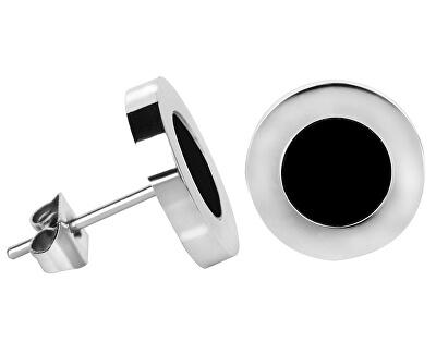 Ocelové náušnice s černým středem Steel